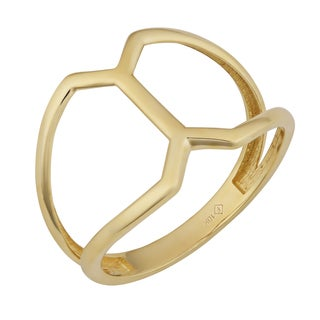 Fremada 10k Yellow Gold High Polish Geometric Ring (size 6 - 9)