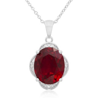 4 TGW Created Ruby And Diamond Necklace, 18 Inches