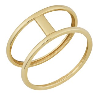 Fremada 10k Yellow Gold High Polish Bar on Double Ring (size 6 - 9)