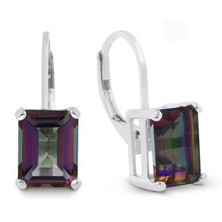 4 1/2 Carat Emerald Shape Mystic Topaz Leverback Earrings In Sterling Silver
