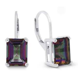 4 1/2 TGW Emerald Shape Mystic Topaz Leverback Earrings In Sterling Silver