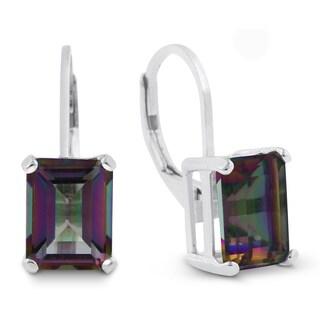 4 1/2 TGW Emerald Shape Mystic Topaz Leverback Earrings In Sterling Silver - Pink