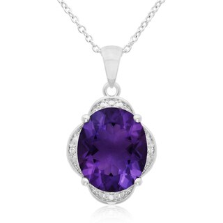 4 TGW Amethyst And Diamond Necklace, 18 Inches
