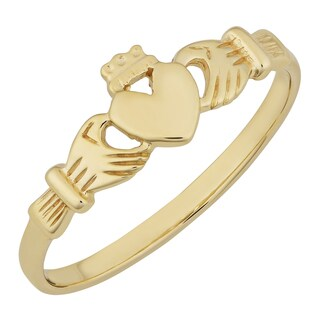 Fremada 10k Yellow Gold High Polish Claddagh Ring (size 4 - 8)