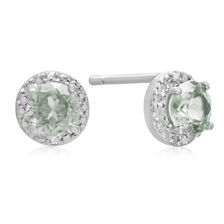 1 1/3 TGW Green Amethyst and Diamond Stud Earrings in Sterling Silver