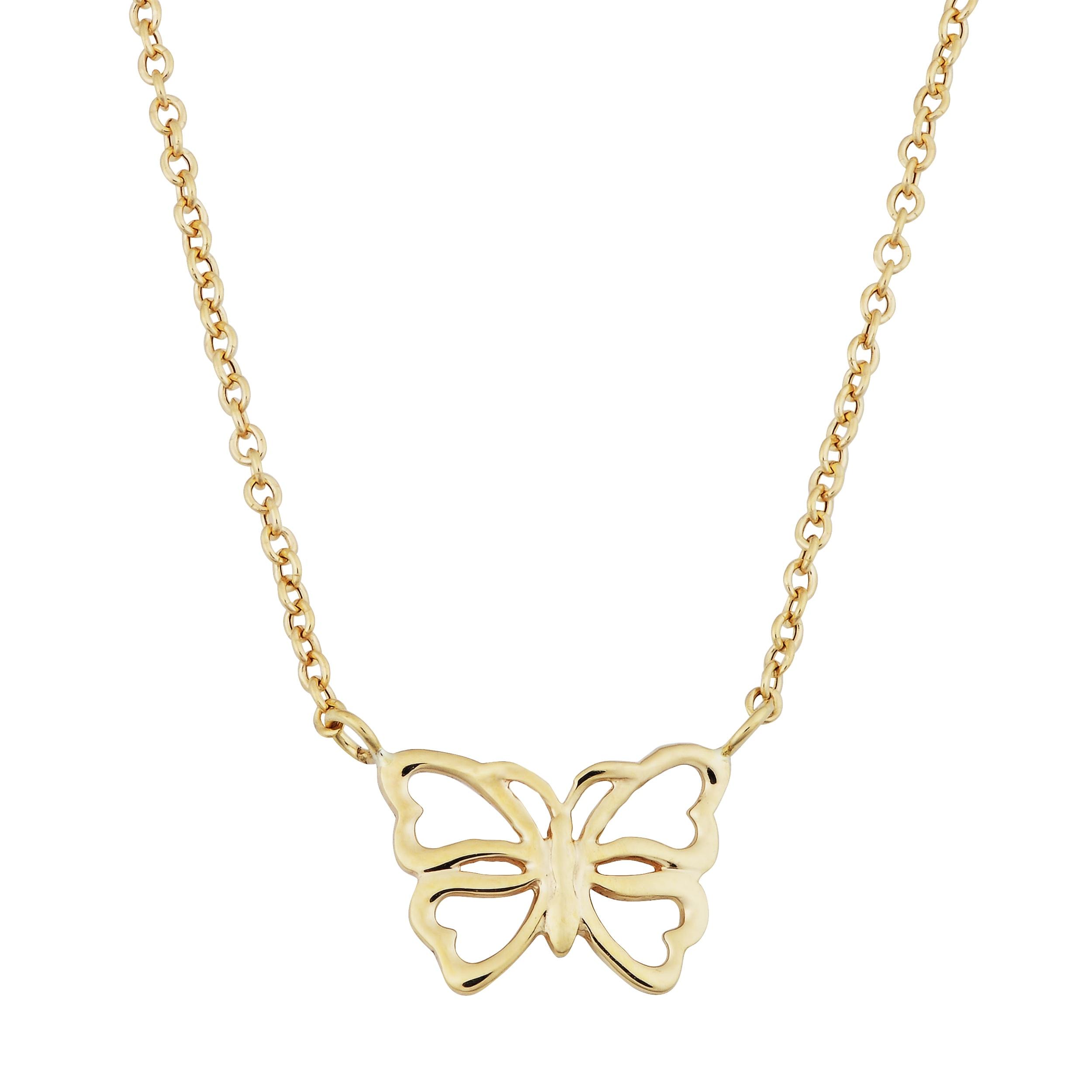 Fremada 14k Gold Butterfly Adjustable Length Necklace (Ye...