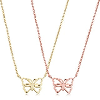 Fremada 14k Yellow Gold Butterfly Adjustable Length Necklace
