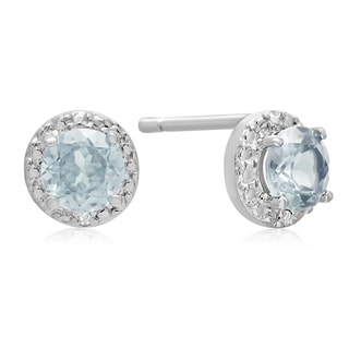 3/4 Carat Aquamarine and Halo Diamond Earrings In Sterling Silver