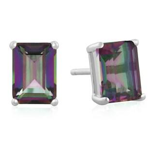 2 1/2ct Emerald Shape Mystic Topaz Earrings In Sterling Silver