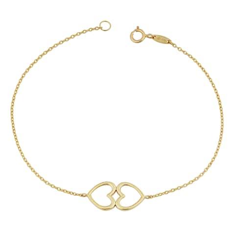 Fremada 14k Yellow Gold High Polish Double Heart Bracelet (7.25 inches)