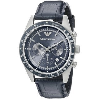 Emporio Armani Men's Chronograph Navy Dial Black Leather Watch