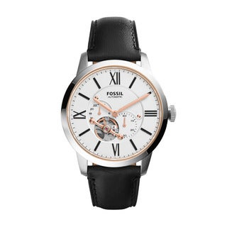 Fossil Men's ME3104 Townsman Automatic White Dial Black Leather Watch
