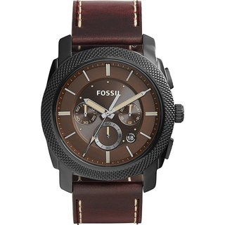 Fossil Men's FS5121 Machine Chronograph Brown Dial Brown Leather Watch