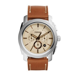 Fossil Men's FS5131 Machine Chronograph Tan Dial Brown Leather Watch
