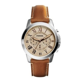 Fossil Men's FS5118 Grant Chronograph Tan Dial Brown Leather Watch
