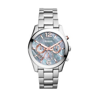 Fossil Women's ES3880 Perfect Boyfriend Multi-Function Mother Of Pearl Dial Stianless Steel Bracelet Watch