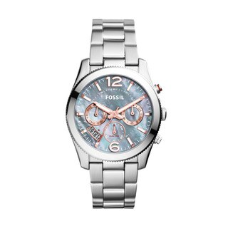 Fossil Women's Perfect Boyfriend Multi-Function Mother Of Pearl Dial Stianless Steel Bracelet Watch