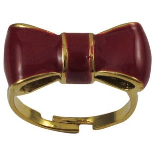 Luxiro Gold Finish Children's Burgundy Enamel Bow Adjustable Ring