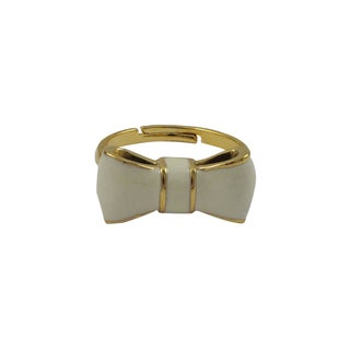 Luxiro Gold Finish Children's Cream Enamel Bow Adjustable Ring - White