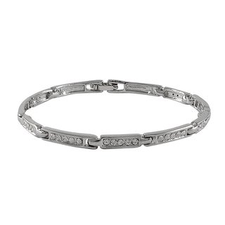 Luxiro Rhodium Finish Pave Crystals Channel Bracelet