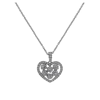 Luxiro Rhodium Finish Pave Crystals Flower Heart Pendant Necklace
