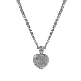 Luxiro Rhodium Finish Pave Crystals Heart Pendant Necklace