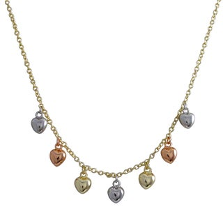 Luxiro Tri-color Gold Finish Children's Puffy Hearts Necklace