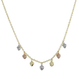 Luxiro Tri-color Gold Finish Children's Flat Hearts Charm Necklace - Silver