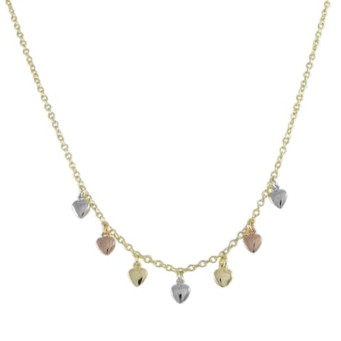 Luxiro Tri-color Gold Finish Children's Flat Hearts Charm Necklace - Silver