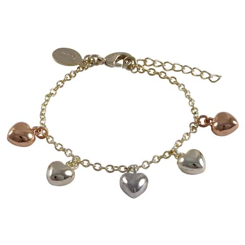 Luxiro Tri-color Gold Finish Children's Puffy Hearts Charm Bracelet - Silver