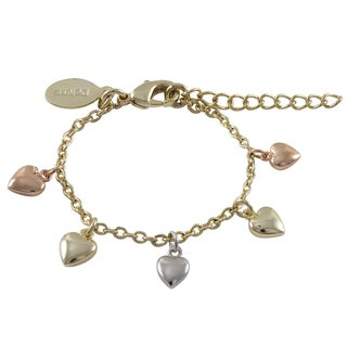 Luxiro Tri-color Gold Finish Children's Flat Hearts Charm Bracelet