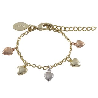 Luxiro Tri-color Gold Finish Children's Flat Hearts Charm Bracelet - White