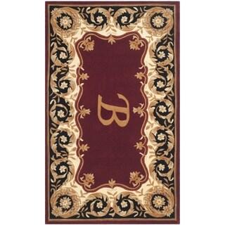 Safavieh Handmade Naples Maroon/ Beige Wool Rug (3' x 5')