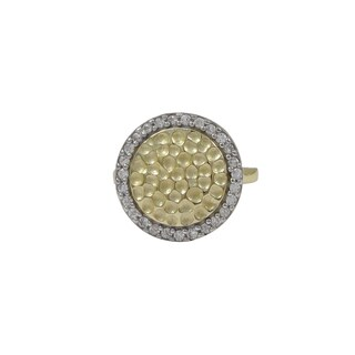 Luxiro Sterling Silver Two-tone Hammered Gold Finish Cubic Zirconia Halo Ring
