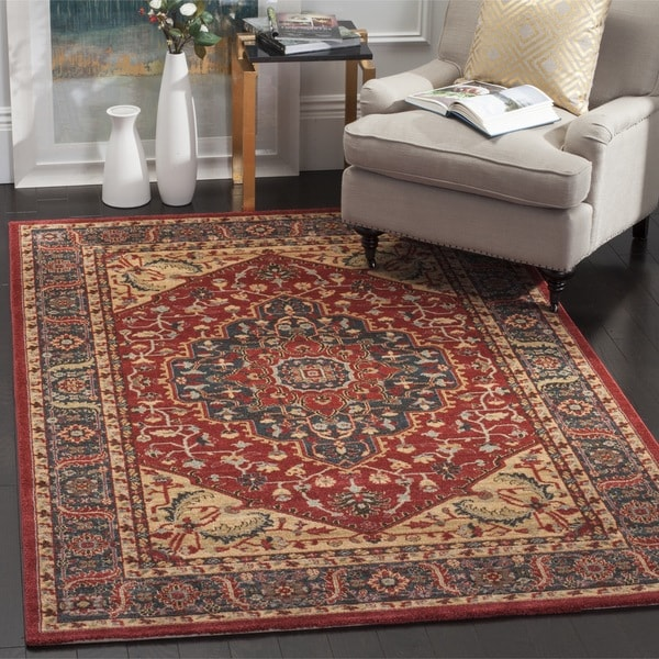 Safavieh Mahal Traditional Grandeur Navy/ Red Rug (3' x 5')