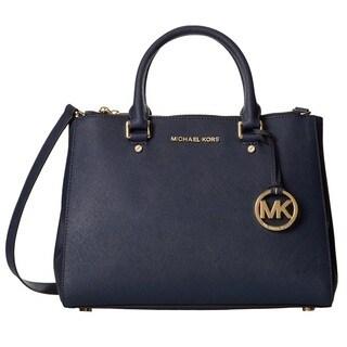 Michael Kors Sutton Medium Navy Satchel Handbag