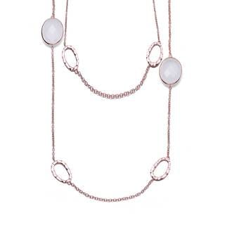 Collette Z Sterling Silver white milky Cubic Zirconia Gemstones Necklace