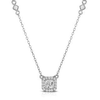 Collette Z Sterling Silver White Cubic Zirconia Frame Necklace