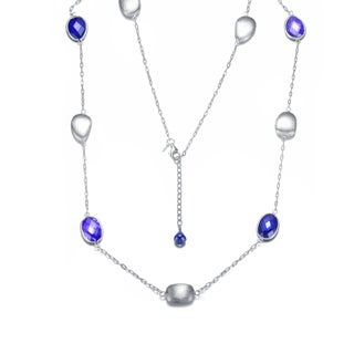Collette Z Sterling Silver Blue Cubic Zirconia Necklace