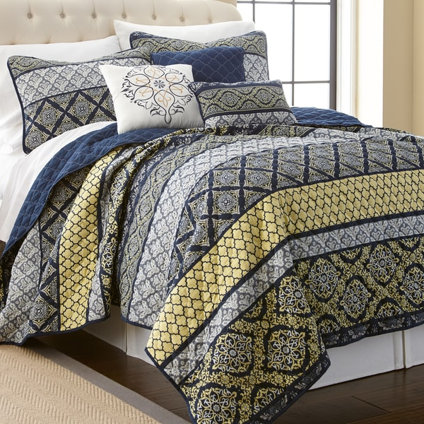 Amraupur Overseas Carrie Blue/ Yellow Multi-printed Reversible 6-piece Quilt Set