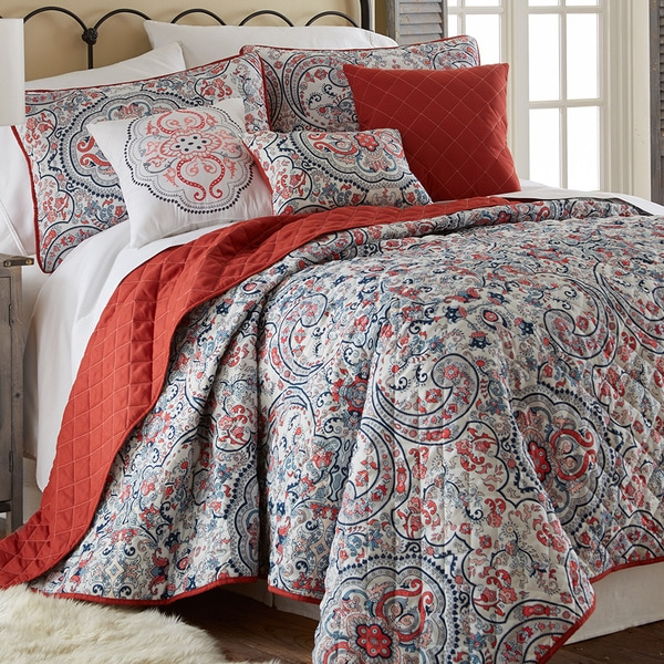 Amraupur Overseas Donna Red Paisley Printed Reversible 6-piece Quilt Set
