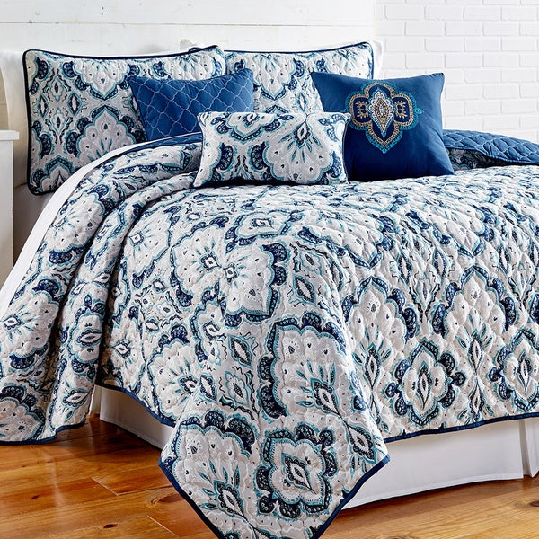 Amraupur Overseas Shane Printed Blue Paisley Reversible 6-piece Quilt Set