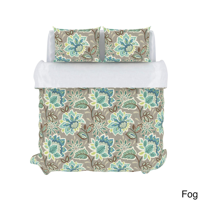 USA Callaway Floral 3-piece Cotton Duvet Set (Fog - Full/...