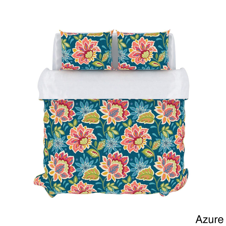USA Callaway Floral 3-piece Cotton Duvet Set (Azure - Kin...