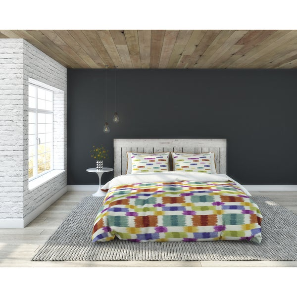Barnaby Multi-color Weave Pattern Coton 3-piece Duvet Set