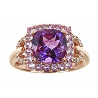 Anika and August 10k Rose Gold Cushion-cut Amethyst, Pink Sapphire and Diamond Accent Ring