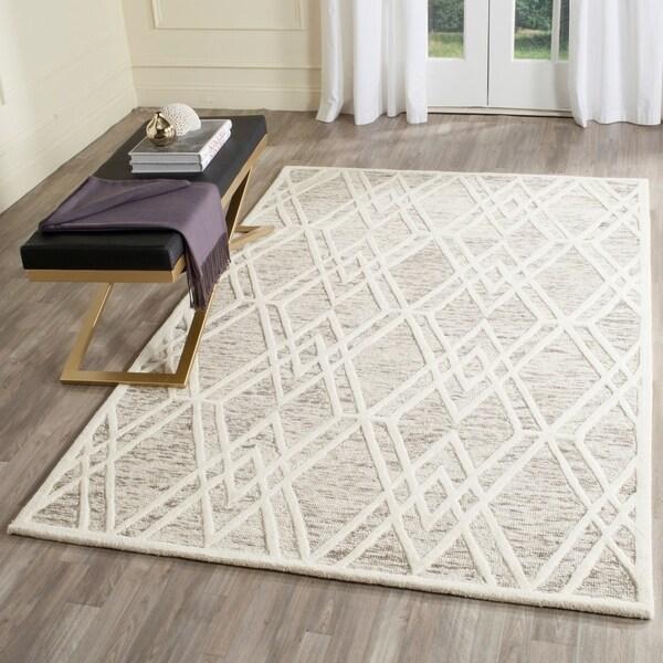 Safavieh Handmade Cambridge Modern Light Taupe/ Ivory Wool Rug - 5' x 8'