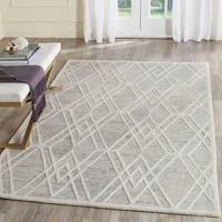 Safavieh Handmade Cambridge Modern Grey/ Ivory Wool Rug - 5' X 8'