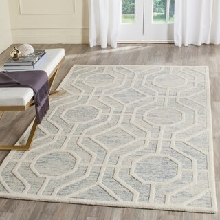Safavieh Handmade Cambridge Light Blue/ Ivory Wool Rug (5' x 8')