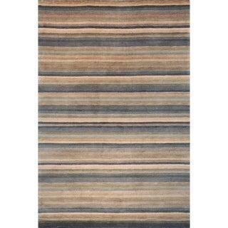 Safavieh Hand-knotted Tibetan Striped Blue/ Grey Wool Rug (3' x 5')